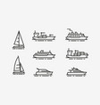 ship icon set shipping cruise symbol linear vector image