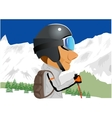 skier standing amongst snow capped mountains vector image