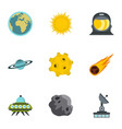 space elements icons set flat style vector image vector image