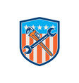 spanner monkey wrench crossed usa flag shield vector image