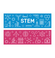 stem concept two modern banners in outline vector image