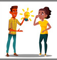 submit an idea one student pulls a glowing light vector image
