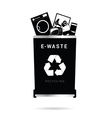 trash can in in black color vector image vector image