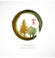 Trees in black enso zen circle vector image vector image