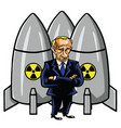vladimir putin cartoon with nuclear missiles vector image vector image