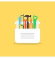 colored tools in white box with shadow vector image
