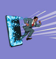african businessman punches screen phone vector image vector image