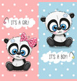 baby shower greeting card with pandas boy and girl vector image vector image