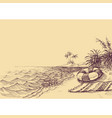 beach and sea drawing towel and life buoy