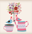 Beautiful card with watercolor flowers bottle with vector image vector image