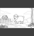 black and white coloring page sheep in farm vector image