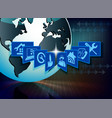 blue background protection of computer equipment vector image vector image