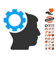 brain gear icon with lovely bonus vector image