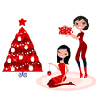 christmas party - girls preparing christmas tree vector image