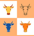 cow head icon set in flat and line styles vector image
