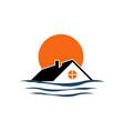 creative beach house logo design rohouse vector image vector image