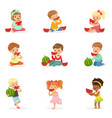 cute little kids eating watermelon healthy eating vector image vector image