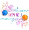 decorative happy holi festival greeting background vector image