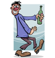 Drunk guy with bottle cartoon