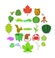 ecology sustain icons set cartoon style vector image vector image