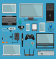 electronic gadgets icons technology pc vector image