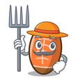farmer rugby ball character cartoon vector image vector image