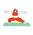 fat girl in sports wear engage fitness or yoga vector image