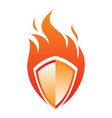 fire shield icon in abstract style on white vector image vector image