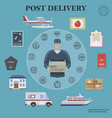 flat post service round concept vector image vector image