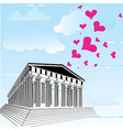 Greece acropolis with heart symbol of valentines d vector image vector image