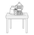isolated coffee maker and mug design vector image