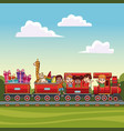 kids on train over landscape vector image