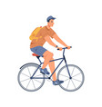 man riding on sport bicycle isolated cycling guy vector image
