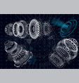 mechanical diagram jet engine 3d elements vector image vector image