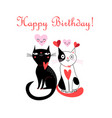 merry greeting card with cats in love vector image vector image