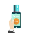 Mobile payment hand with vector image vector image