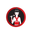 Oriantal femme fatale in black kimono with a vector image vector image