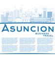 outline asuncion skyline with blue buildings