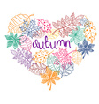 Patterned Autumn Leaves In A Heart Shape vector image vector image