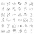 pointing icons set outline style vector image vector image