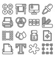 printing icons set on white background line style vector image