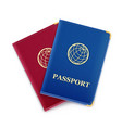 red and blue passport vector image vector image