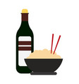 rice bowl and drink bottle vector image vector image