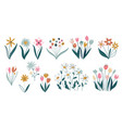 set different flowers on white background vector image