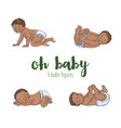 set of four cute african babies vector image
