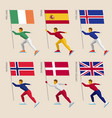 set of simple flat athletes skating with flags vector image vector image
