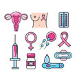 set types of cancer and medicine treatment vector image