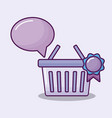 shopping basket with set icons finance vector image vector image