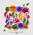 spring background with handwritten calligraphy vector image vector image