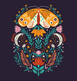 spring motifs in folk art style colorful vector image vector image